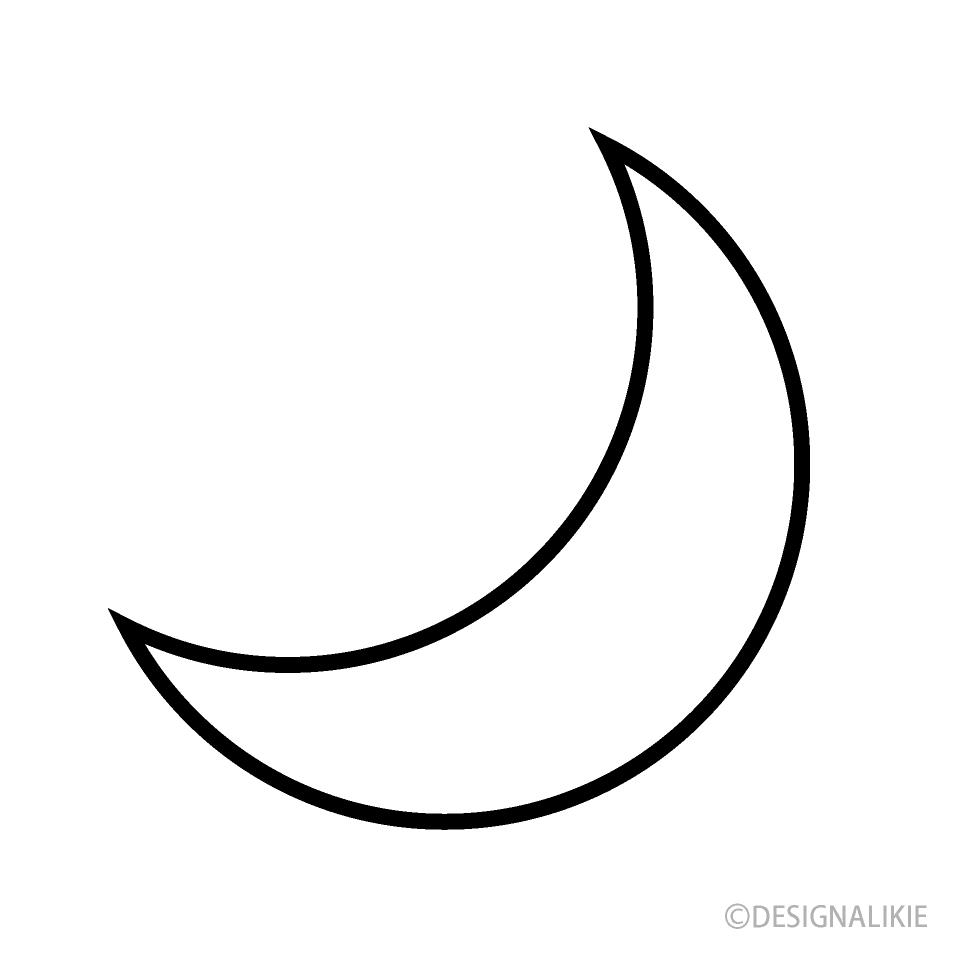 Black and White Moon Symbol Free Picture|Illustoon