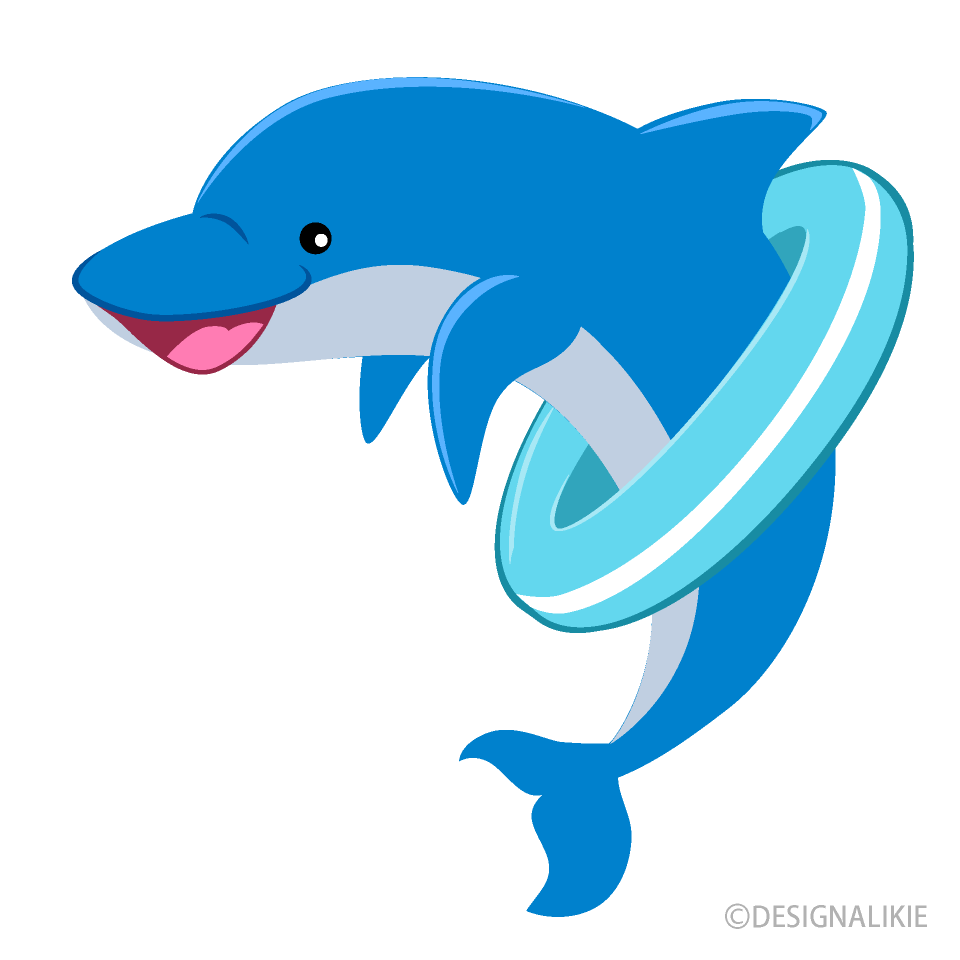 Dolphin Playing with Tube Clipart