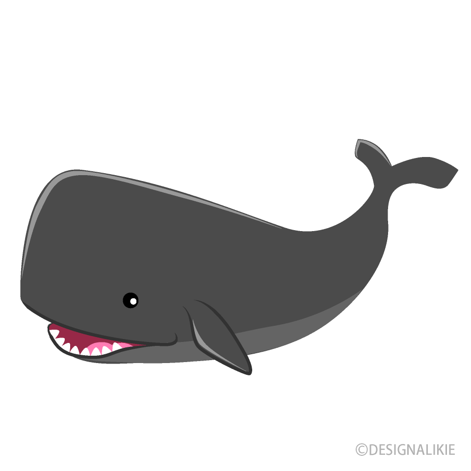 Cute Black Whale Clipart