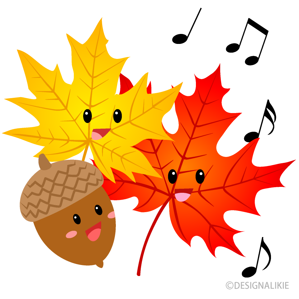 Singing Cute Acorn And Maple Clipart Free Png Image Illustoon
