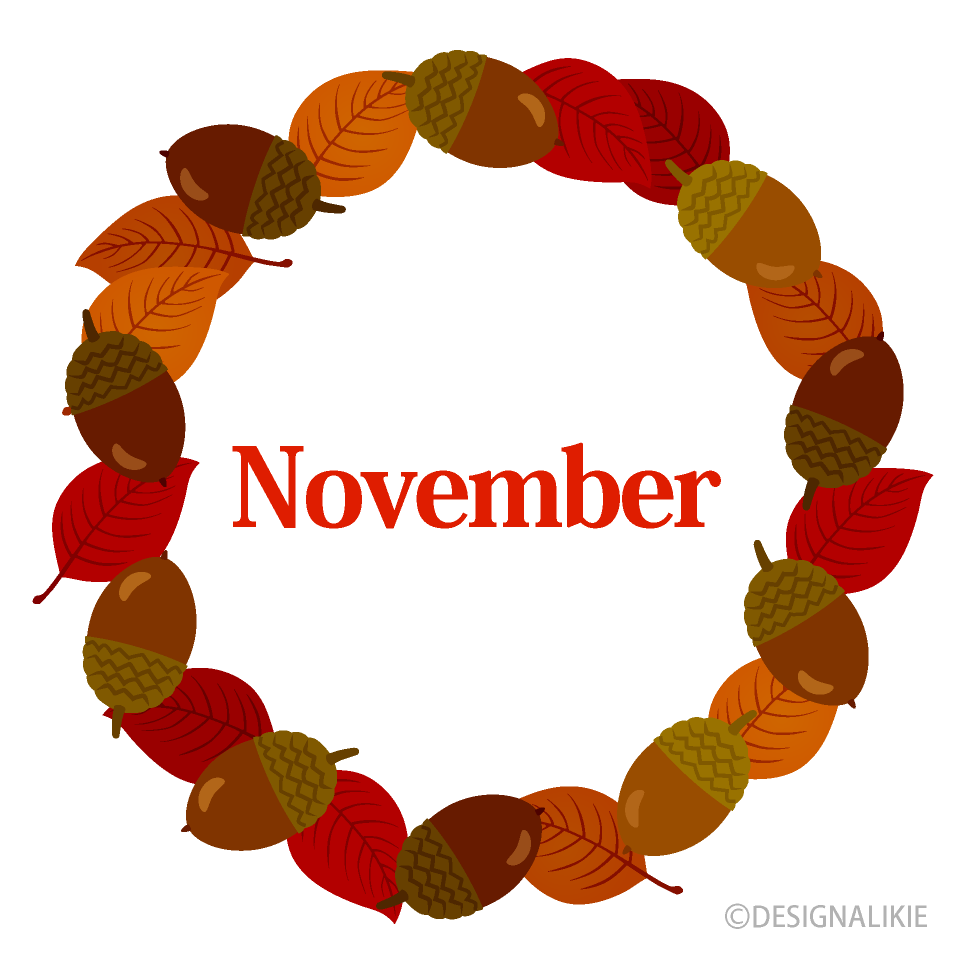 Acorns and Leaves Wreath November Clipart