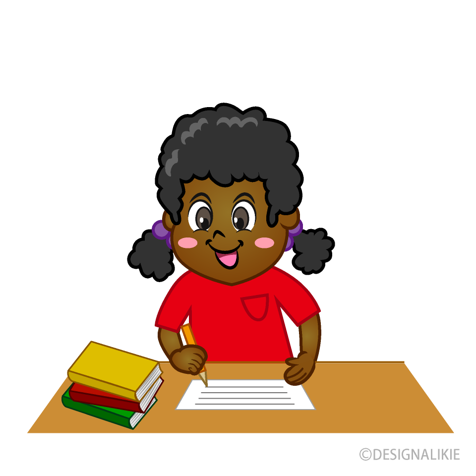 Smile Girl Writing Clipart