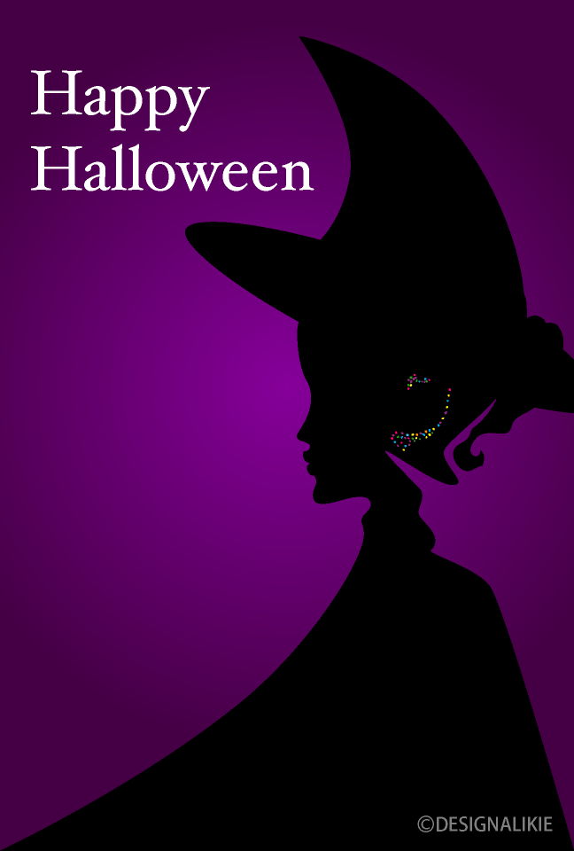 Witch Silhouette Happy Halloween Card