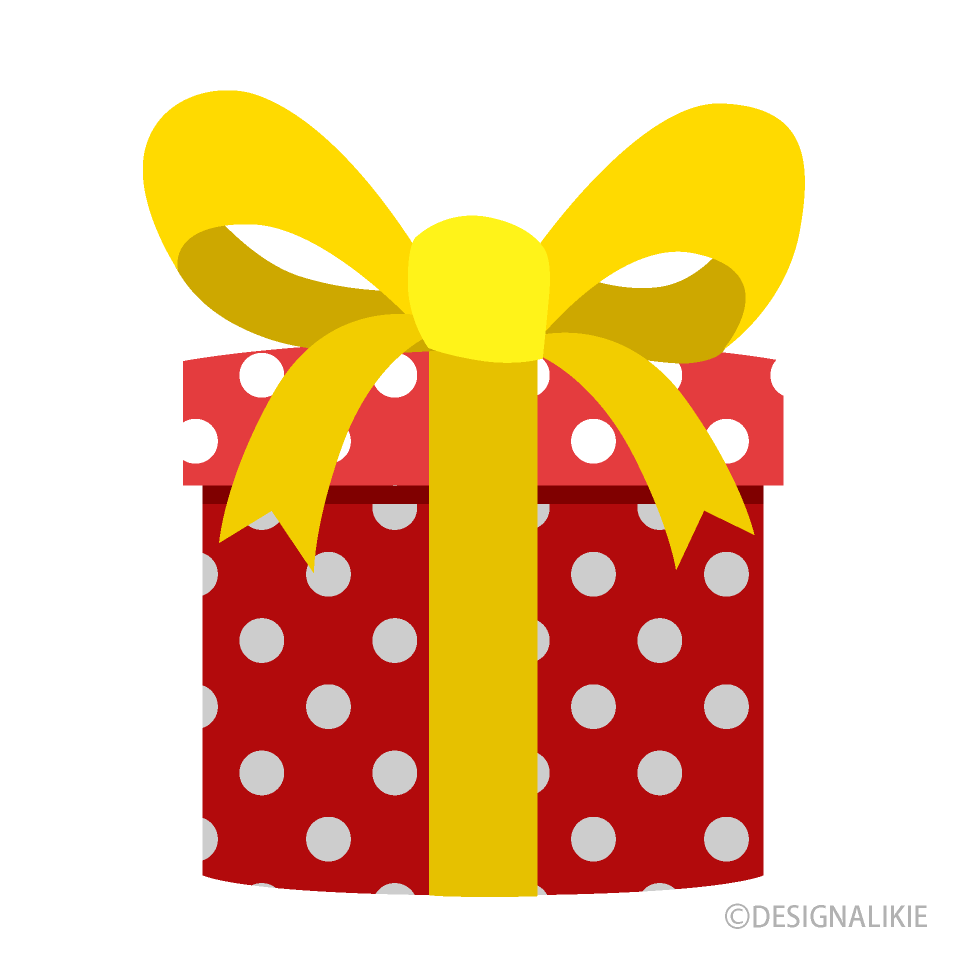 Present with Polka Dots Clipart