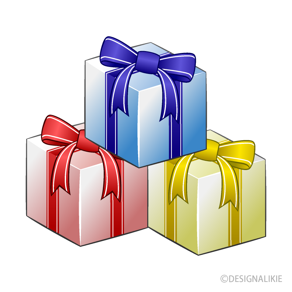 Three Present Boxes Clipart