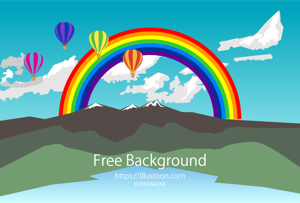 Rainbow and Balloons Background