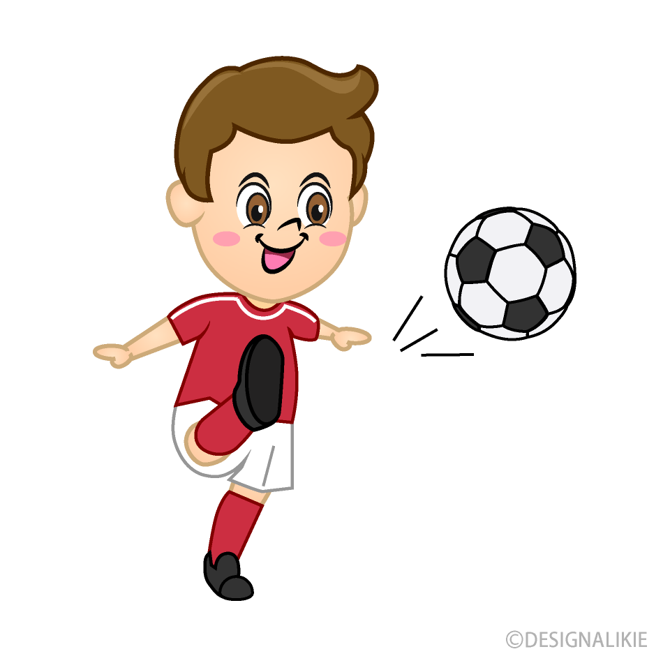 Boy Soccer Player with Red Jersey to Shoot