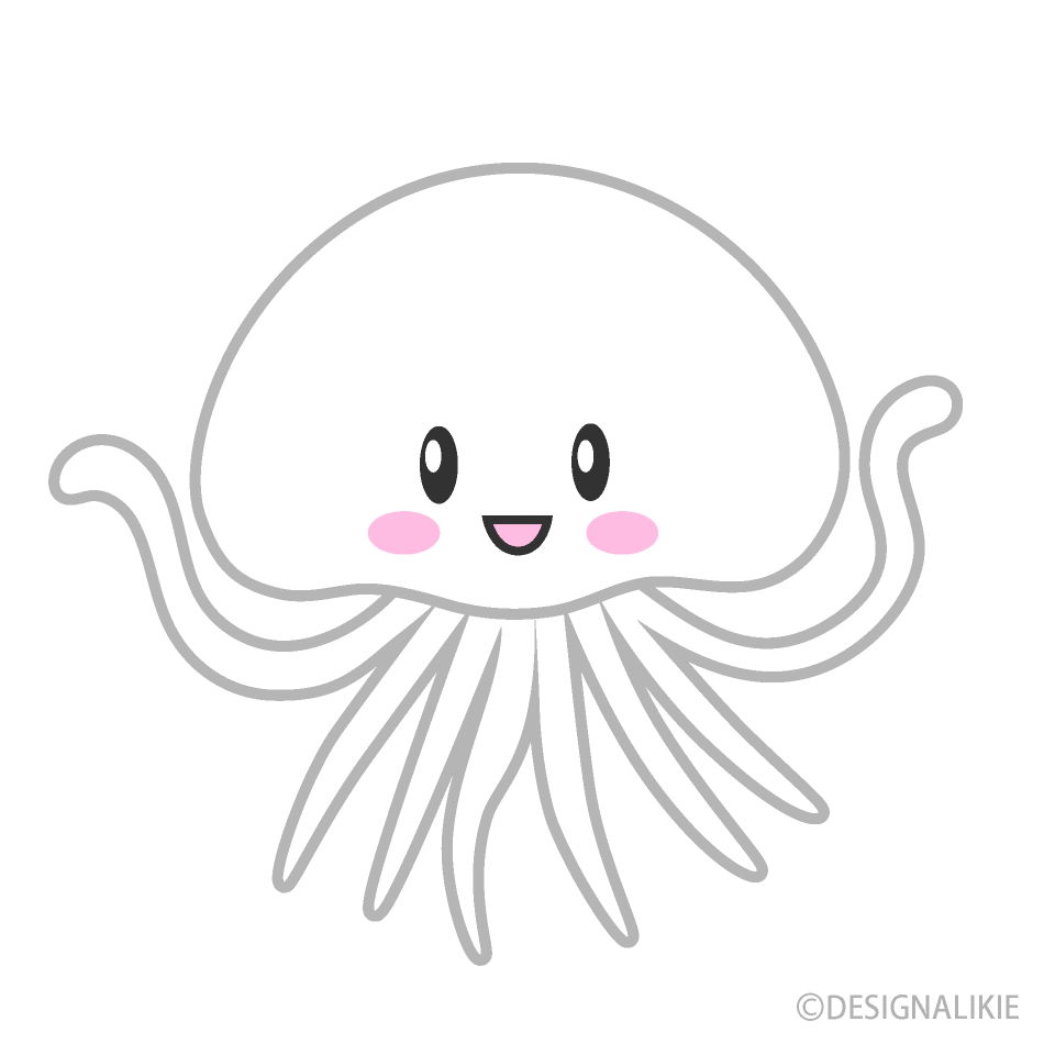 Cute Smiling Jellyfish Cartoon