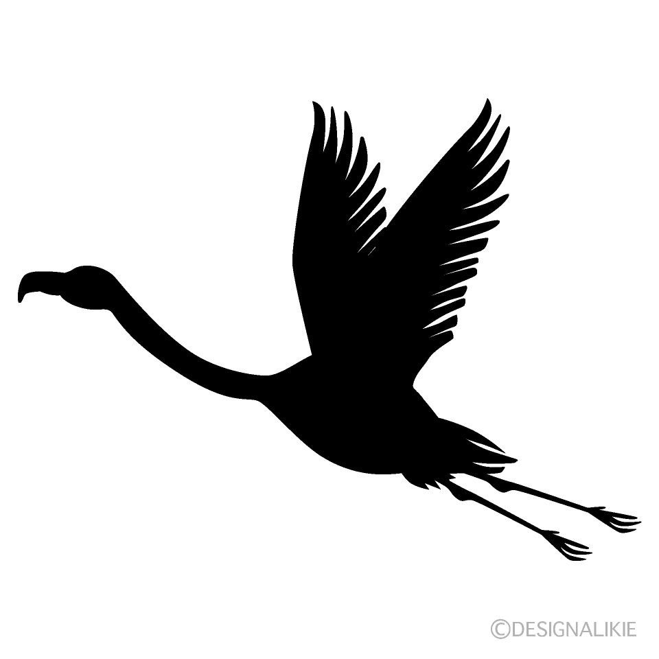 Flying Flamingo Silhouette