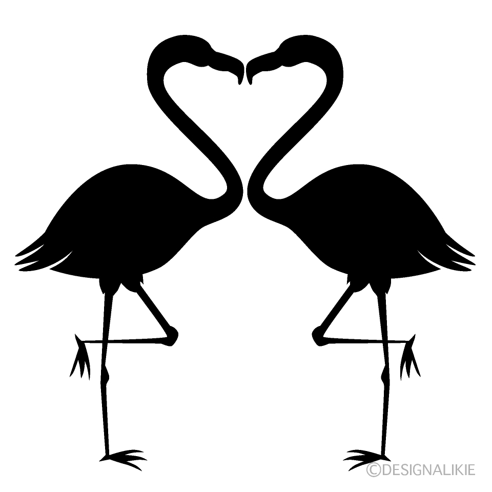 Heart Flamingo Silhouette