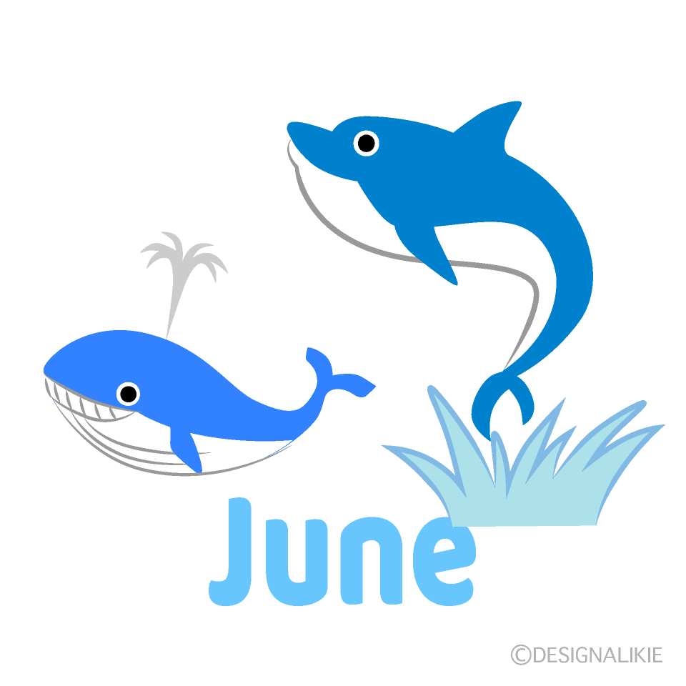 Dolphin and Whale June Clipart