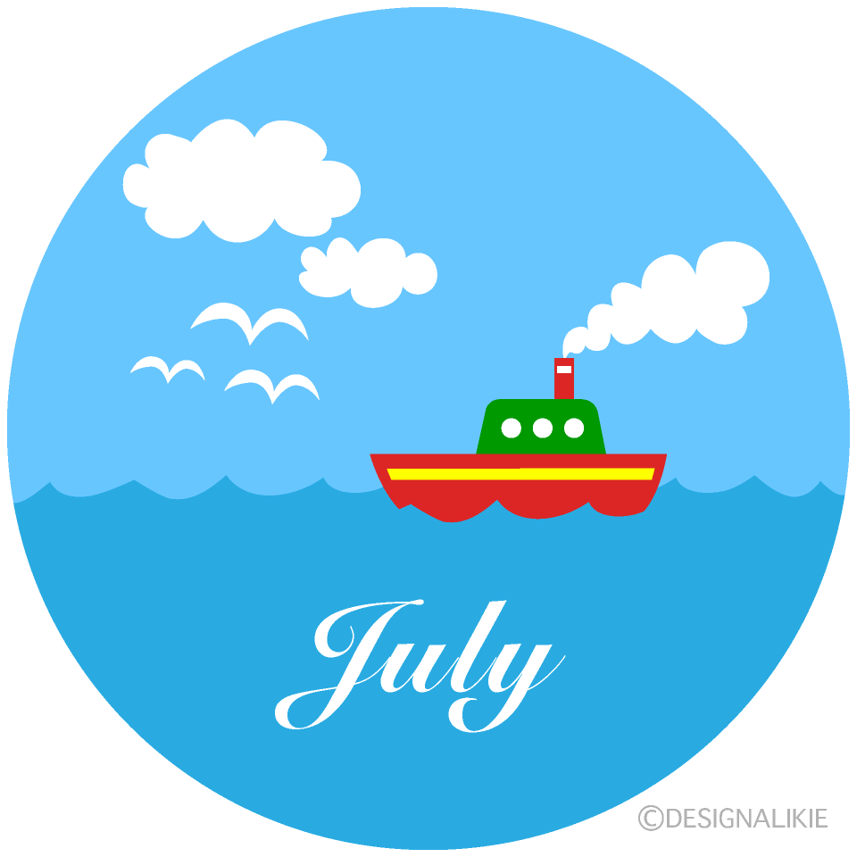 Sea Boat July Clipart