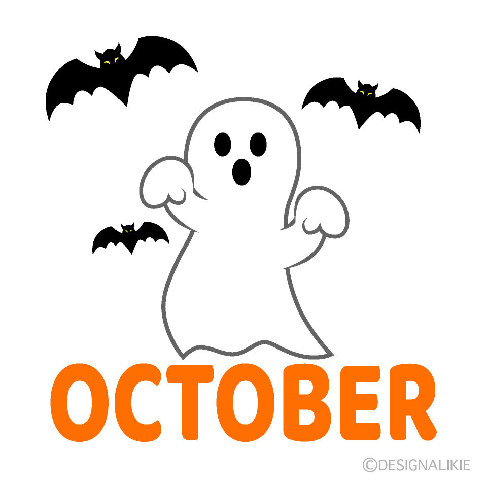 Ghost and Bat October Clipart