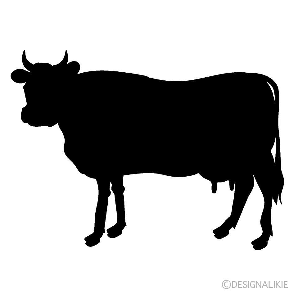Cow Looking Silhouette Free PNG Image|Illustoon