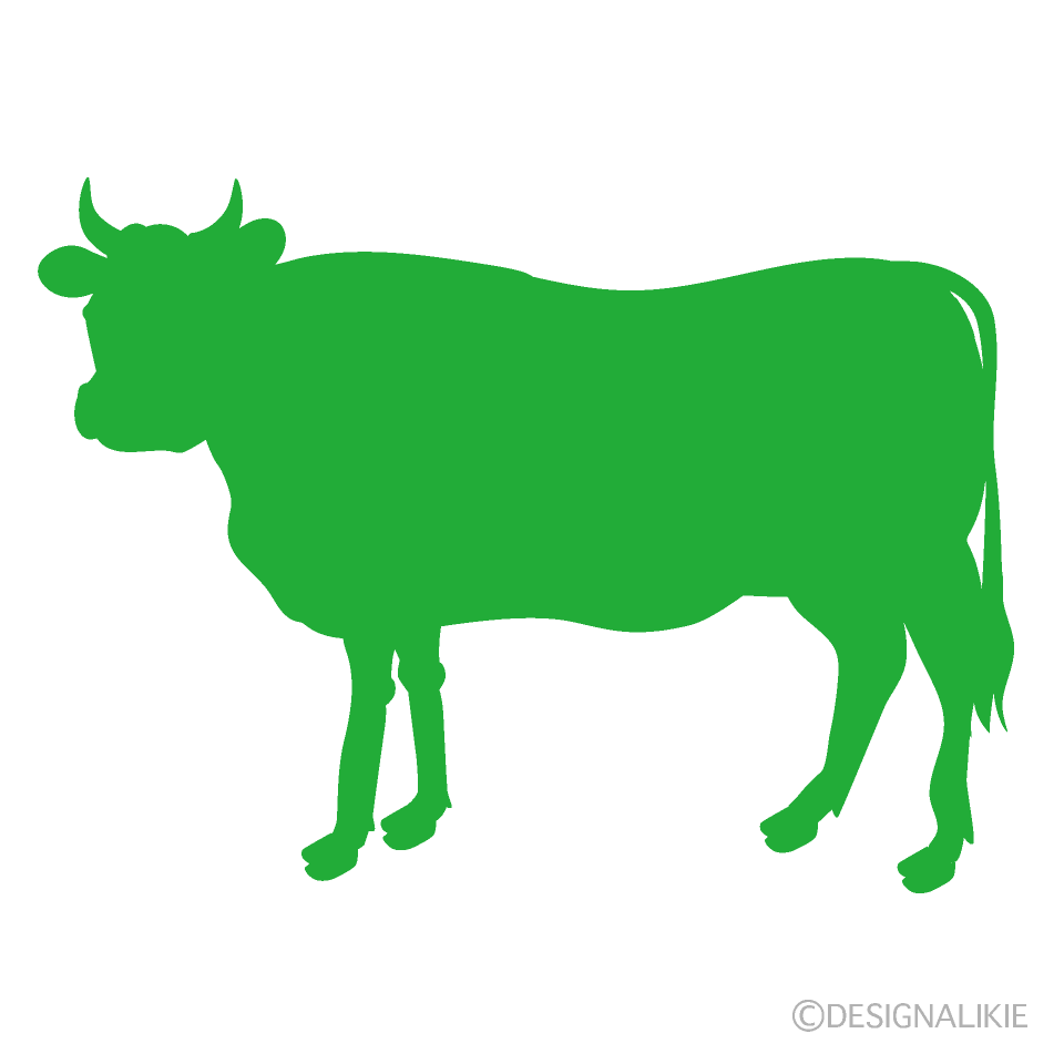 Cow Looking Green Silhouette
