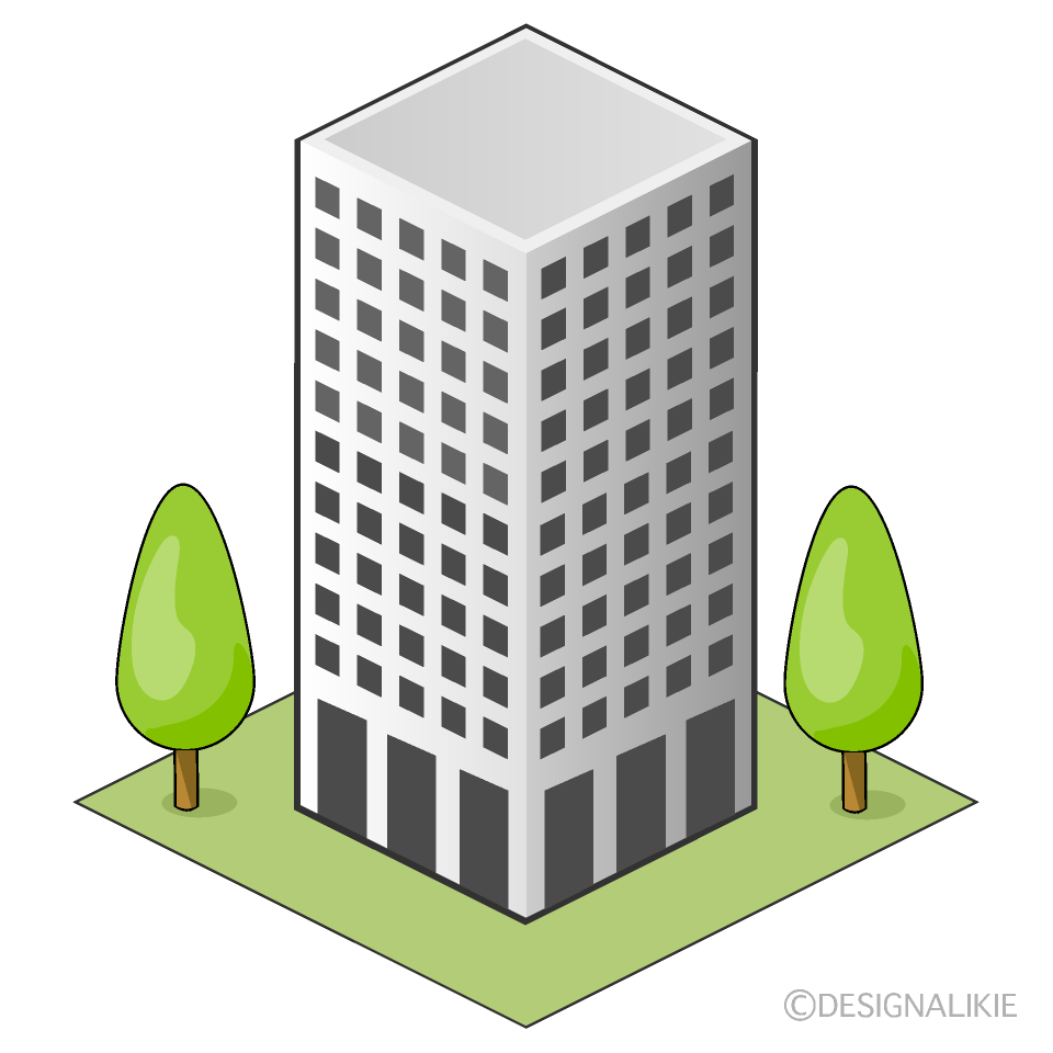 Office Building and Trees Clipart