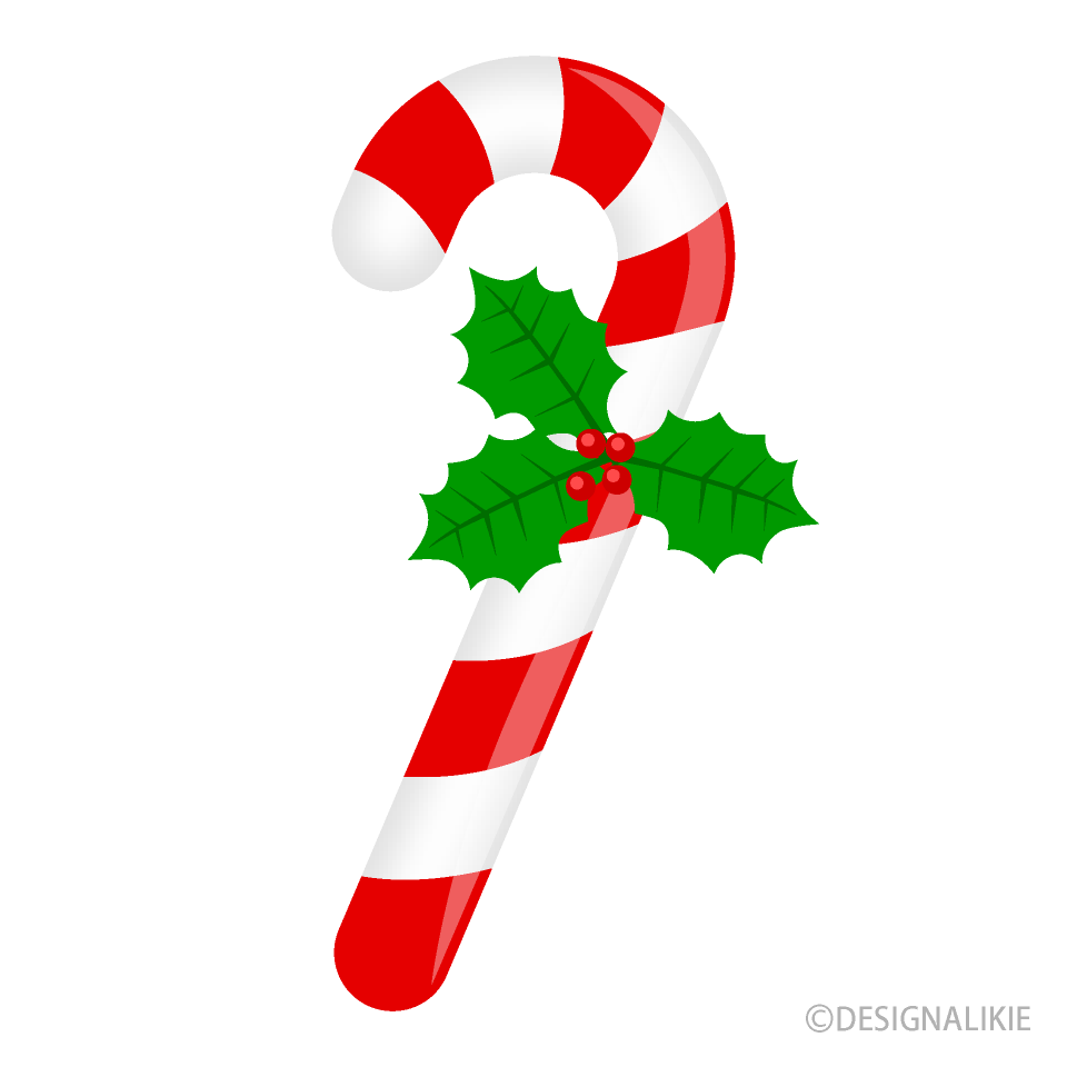 Candy Cane with Holly