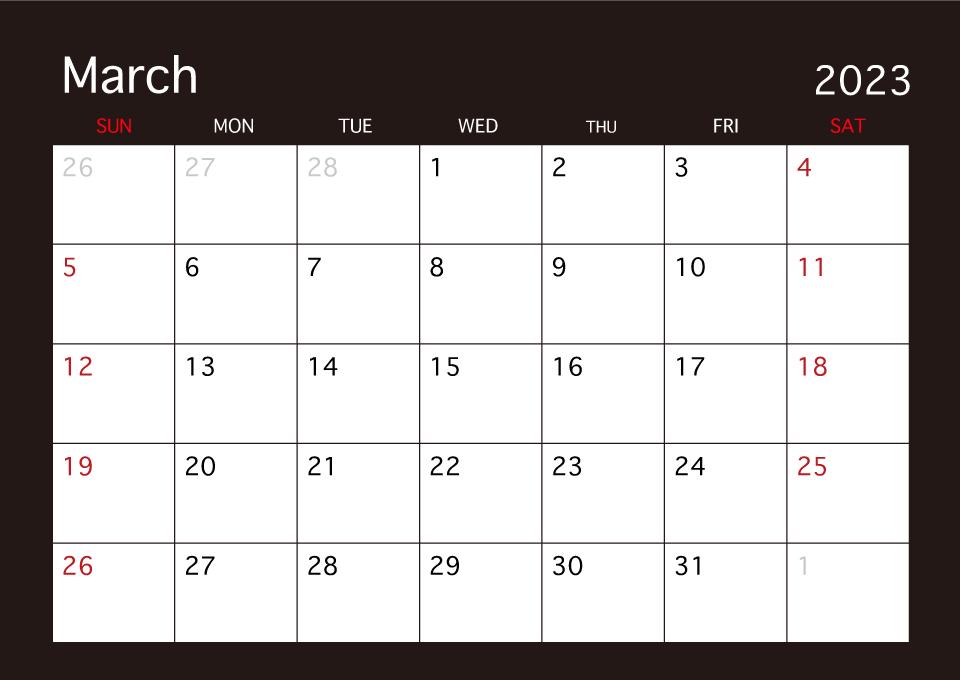 March 2019 Black Calendar Free Picture Illustoon