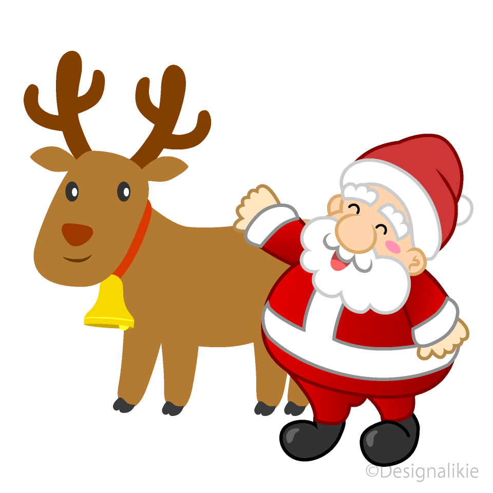 Cute reindeer and Santa Clipart