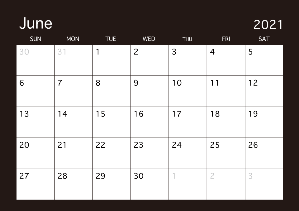 Calendar Of June.June 2019 Black Calendar Free Picture Illustoon