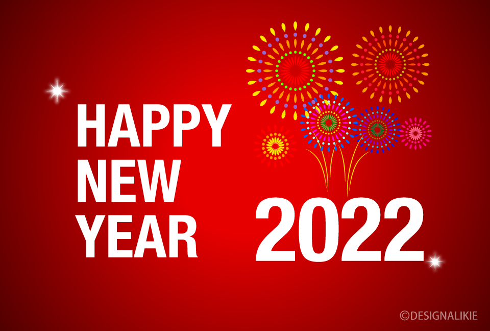 Fireworks on Red New Year 2021 Card