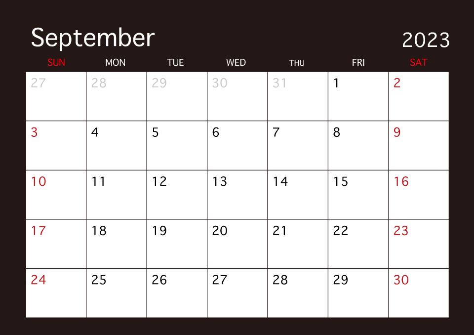 Calendario Dibujo Septiembre.Calendario Negro De Septiembre De 2019 Gratis Dibujos