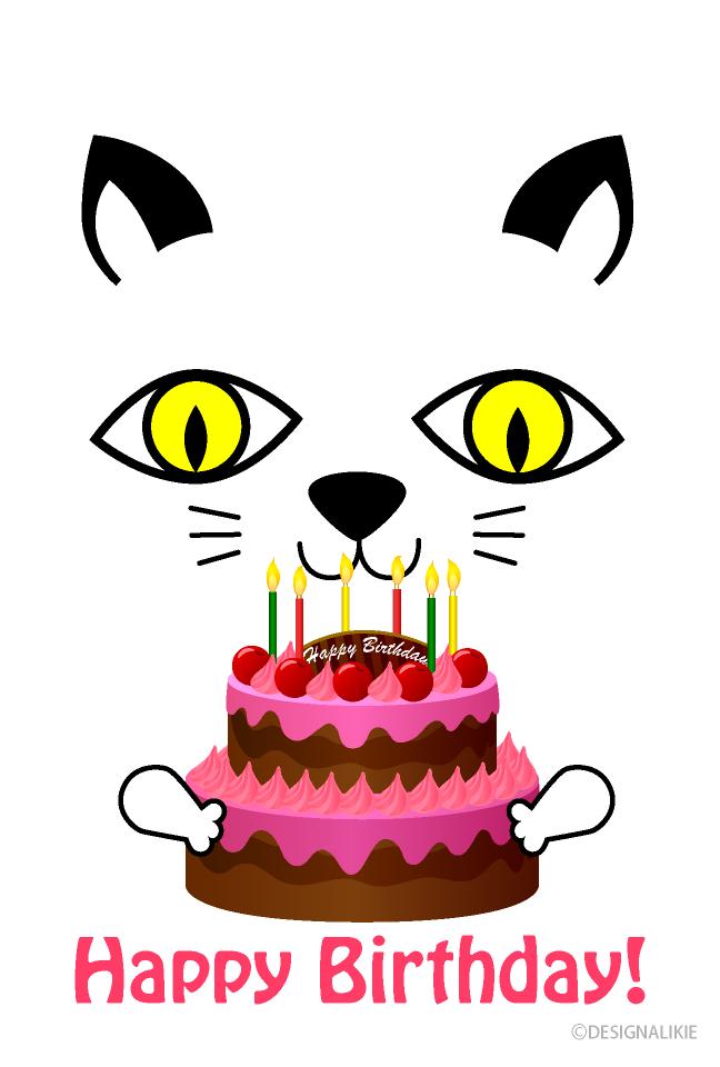 Birthday Cake And Cat Happy