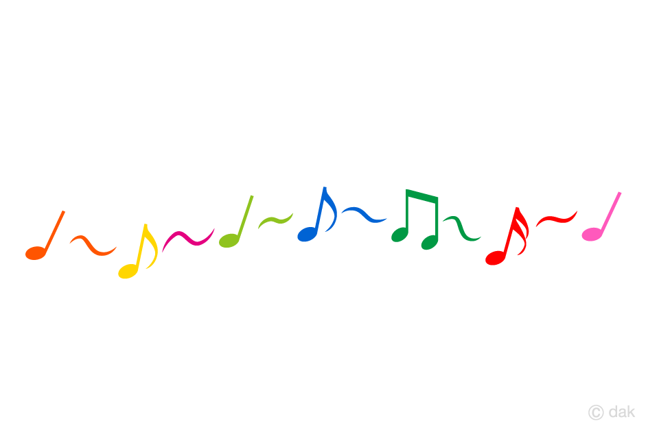 Colorful notes playing music