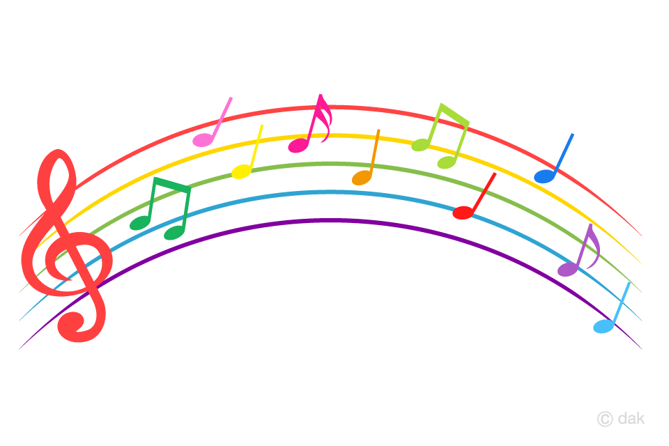 Colorful Music Score like a Rainbow Free PNG Image|Illustoon