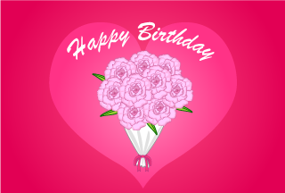 Pink rose bouquet Happy birthday