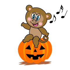 Halloween pumpkin and Monkey Cartoon