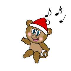 Monkey with Santa Hat Cartoon