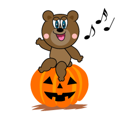 Halloween pumpkin and Bear Cartoon