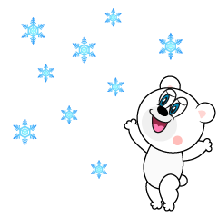 Bear looking up at snow Cartoon