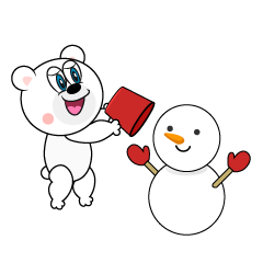 Polar Bear Making a Snowman