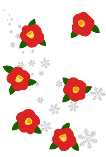 Red flower and Snowflakes Graphics card