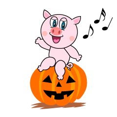 Halloween Pig Cartoon
