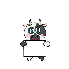 Cow with a board Cartoon