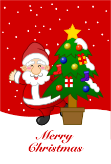 Christmas card of Santa and Christmas tree in snowfall background