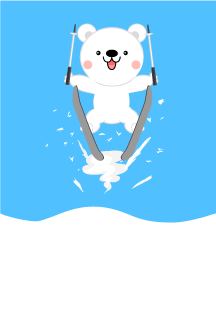 Ski jump polar bear graphic card