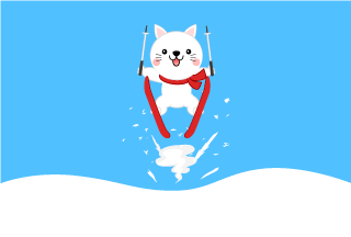 Ski jumping white cats Cartoon Pictures