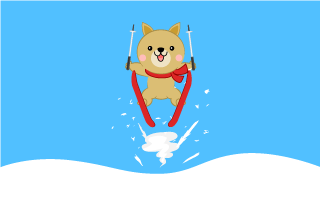 Cute dog ski jumping Cartoon Pictures