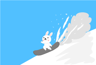 Cute bunny running on snowboard