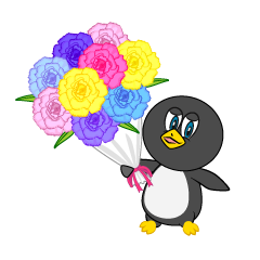 Gift a flower bouquet Penguin Cartoon