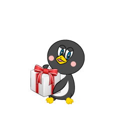Giving a Gift Box Penguin Cartoon