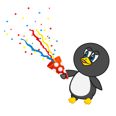 Cartoon Penguin to celebrate with Popper
