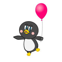 Cartoon Penguin with a Balloon