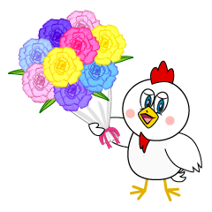 Gift a flower bouquet Chicken Cartoon