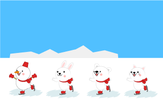 Snowmen and animals skate on Cartoon Pictures