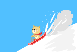 Dog character skiing on a snowy mountain with a sled